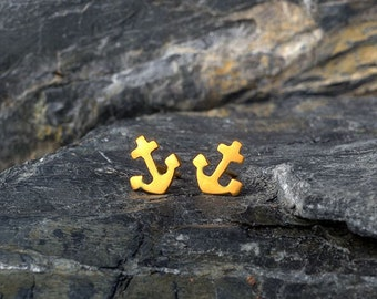 Gold Anchor Earrings Tiny Anchor Stud Earrings 14k solid Gold Nautical studs minimal studs Everyday earrings