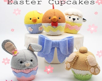 Easter cupcake pdf pattern Sew your own, diy, sewing pattern, wool felt, felt cake, decoration, make your own, feltro moldes, sew sweet