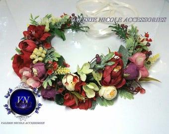 Burgundy Purple flower crown  Greenery flower crown Floral crown Wedding flower crown Flower girl crown  Flower hair wreath Wedding crown