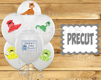 Baby Dinosaur Balloon Stickers Birthday Party favors cup stickers decorations supplies Baby shower Dinosaur balloons Precut Personalized