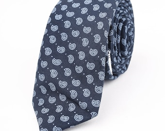 Gunmetal Blue Tie with Paisley Foulard Pattern