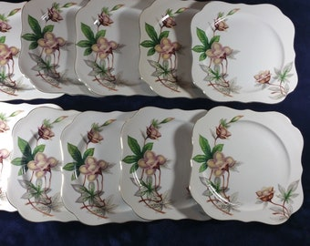 "Set of 10 Woodrose Meito ivory China Japan square  7.75""  Salad ,Lunch plates"