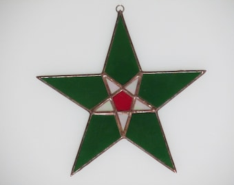 Stained Glass Green and Red Star Suncatcher