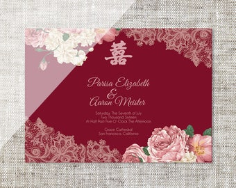 DIY Printable/Editable Chinese Wedding Invitation Card Template Instant Download_Landscape Maroon Peonies Floral Lace 婚禮喜帖喜喜Double Happiness