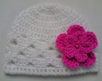 SALE Crochet Baby Kids Toddler Hat Beanie children gift girl white pink flower