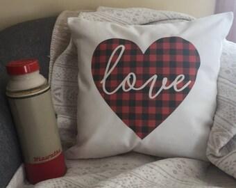 Valentine's Day Gift  plaid valentine's heart throw pillow/ valentines pillow/ valentines gift/ red plaid heart pillow/ valentines decor