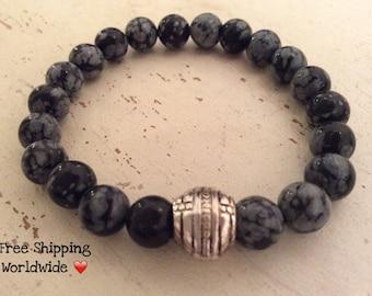 Snowflake Obsidian Bracelet, Mens Bracelet, Energy Bracelet, Mala Bracelet, Wrist Mala, Yoga Bracelet, Positivity Mala, Calming Bracelet