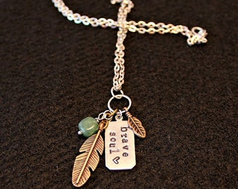 Handcrafted jewelry, Brave soul stamped pewter necklace, feather necklace
