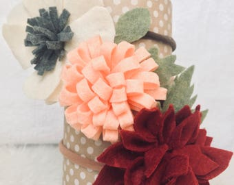 Flower headbands for babies and toddlers-Handmade-Felted-Several Flower Choices to Choose!