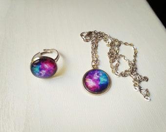 Galaxy Solar Purple Pink Blue Cosmic Planet Jewelry Set Nebula Moon Stars Ring Necklace