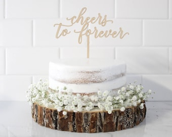 Cheers to Forever Cake Topper, Wedding Cake Topper, Custom Wedding Cake Toppers, Personalized Wedding Cake Topper, Mr and Mrs Cake Topper