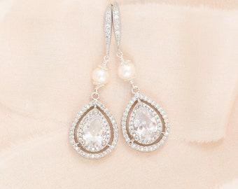 Crystal Wedding Earrings, Crystal Teardrop Earrings, Statement Wedding Earrings