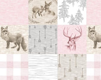 Woodland Nursery Quilt, Fox Fawn Deer Pink Grey Gray, Baby Girl Quilt, Patchwork Baby Quilt, Crib Bedding, Minky Baby Blanket, Rustic Quilt