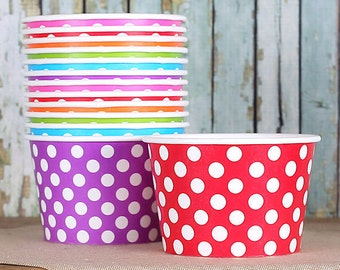 Large Polka Dot Rainbow Ice Cream Cups, Rainbow Ice Cream Bowls, Sundae Cups, Dessert Cups, 8 oz Paper Ice Cream Cups, Rainbow Party (18)