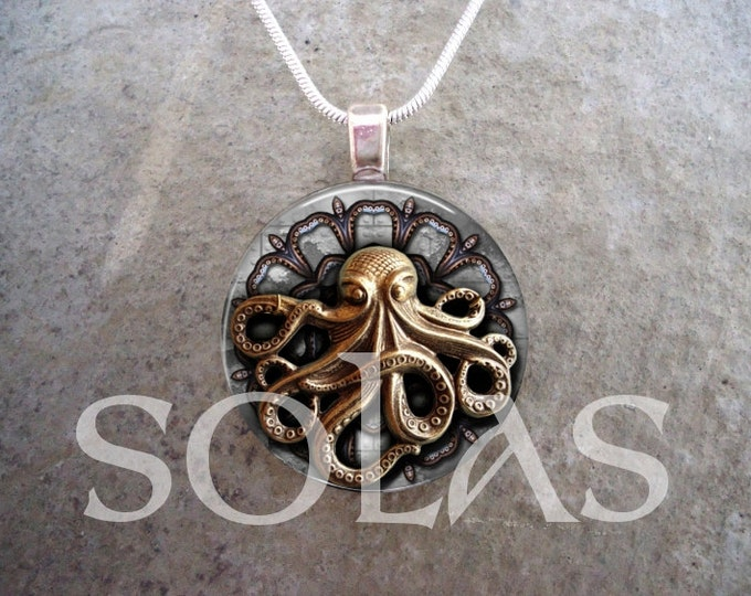 Steampunk Necklace - Glass Pendant Jewelry - Steampunk 1-19