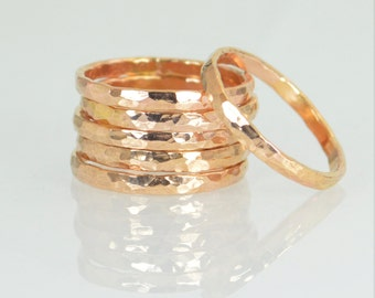 Thick 14k Rose Gold Filled Stackable Ring(s), 14k Rose Gold Filled, Stacking Ring, Hammered Ring, Rose Gold Band, Thumb Rings, Simple Rings