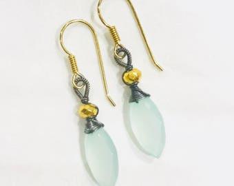 Seafoam aqua chalcedony dangle earrings, in mix metal of sterling and silver vermeil