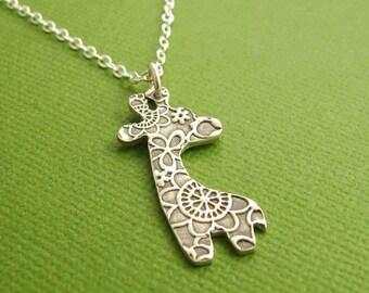 Silver Giraffe Necklace, Fine Silver Flowered Giraffe, Sterling Silver Chain, Made To Order