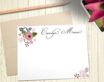 Personalized Stationary, Custom Stationery Set, Thank You Cards, Floral Notecards, A2 Note Cards With Envelope, 12 Flat Note Cards, PS002