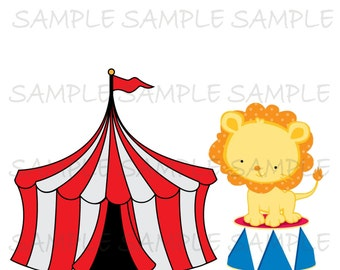 Circus IMAGE Use as Printable Iron On Transfer or Clip art carnival tent circus lion, Instant  Download DIY