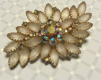 Vintage Huge Juliana White Frosted Glass And AB Rhinestone Brooch