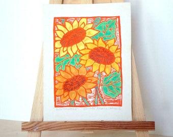 Sonnenblumen-Druck - 4x5.5. Farbige. Orange Farbe. Linoleum Drucke Wand Kunst Blumen Kunst Hand Linoldruck Flower Print Block Drucke handgefertigt