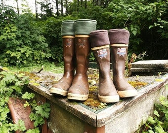 MENS Fleece Rain Boot Liners Brown, Boot Insert Fall Winter, Gift For Him Dad, Rustic Outdoors, Camping, Fishing, Hiking (Made To Fit)