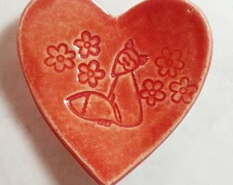 Fox jewelry dish, wedding ring dish, ring dish, trinket dish, ring holder dish, heart dish, earring dish, tea bag dish, pottery anniversary