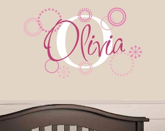 Name Decal - Childrens Wall Decal - Retro Circles - Girl Name Decal - Personalized Name Decal - Custom Name Sticker