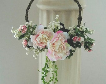 Modern bridal Hoop bouquet Peony wreath silk Wedding Flowers Boutonniere Spring Home Decor wall hanging Ivory green blush pink flower girl