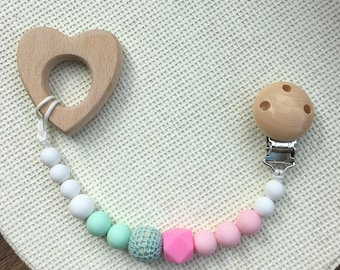 Pacifier clip girl Dummy clip Pacifier holder Teething clip Teething baby Teething toy clip Soother clip Silicone paci clip Baby shower gift