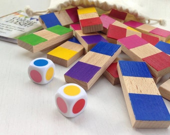 Colour Dash - A wooden colour matching dice game and dominos