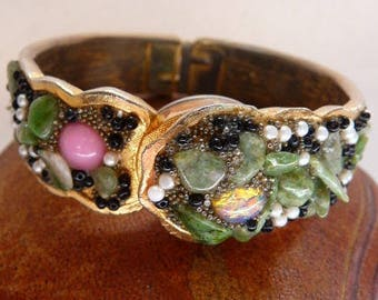 vintage Jeweled Pilgrim hinged hidden watch bangle | clamper bypass watch | analog mystery watch | Swiss 21 jewels wind up | runs