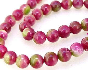 Round Candy Multicoloured  10mm 6mm Watermelon Jade Gemstone Beads One Full Strand Green Jade Peach Jade Strand
