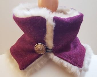 Harris tweed and fur neckwarmer/snood/cowl