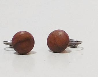 Small Brown Clip On Earrings, Round, Button, Dark Brown, Wood, Minimalist, Natural, Little, Clip Back, Clipon, Never Worn, Vintage 80s,
