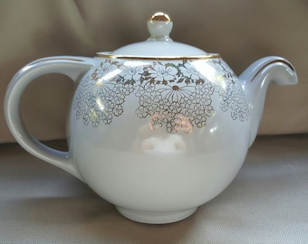 Mother's Day Special~Vintage Hall Teapot from the 1940's, Gray, Globe Shaped, No drip Spout with Gold Embellishment