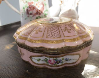 French Antique Pink Porcelain - Gold Ormolu Jewelry Casket - Hand Painted Romantic Cameo