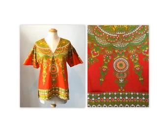 Vintage des années 60 Orange Dashiki Top V cou avec poches