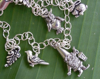 Gnome and woodland friends charm bracelet - sterling silver and silver plated pewter -Free shipping USA