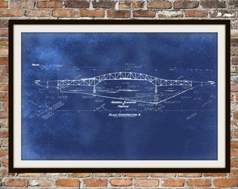 "Blueprint Art of Bridge ""Arrowsic""  Technical Drawings Engineering Drawings Patent Blue Print Art Item 0002"