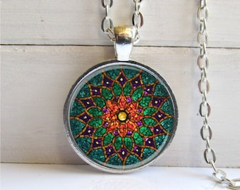 Mandala Pendant, Mandala Necklace, Meditation Jewelry, Green Mandala Necklace