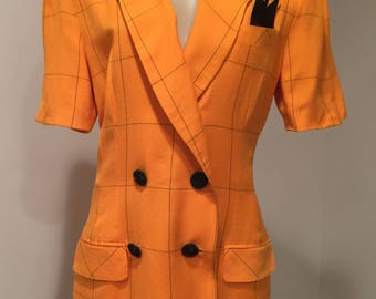 Ladies Vintage, Orange & Black Windowpane Checked Wrap Dress, Double Breasted, Size 10