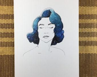 Galaxy Girl Lexie - Watercolor Art Note Card