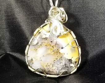 Natural dendritic opal, wire-wrapped pendant- solid sterling silver.
