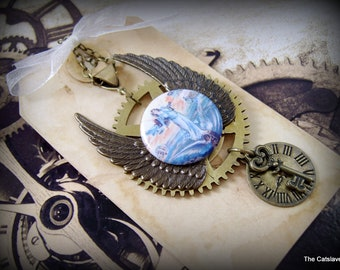 Steampunk Angel Necklace Benefiting CLAWS Cat Sanctuary Cosplay Industrial Wings Charms Clock Wheel Handmade Jewelry
