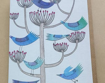 Blank illustrated greetings card / Blue Birds in Fennel / birthday / any occasion card / mothers day / art card / illustrated card/ bird art