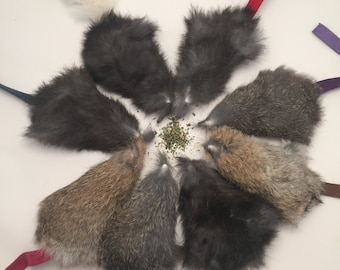 Catnip Filled Rabbit Fur Mouse Shaped Cat Toy Cat size