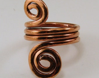 Copper Spiral Ring - Any Size Copper Spiral Bypass Ring, Any Size