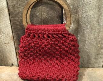 Vintage crochet purse,macrame purse, wood handle , purse